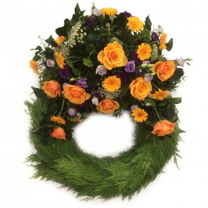 Bouquetkranz orange/lilas ø 65 cm