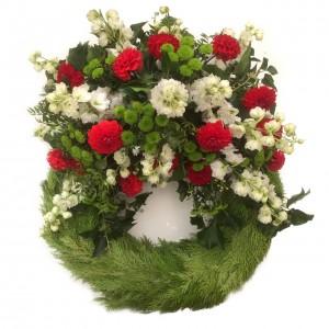 Bouquetkranz rouge/blanche ø 65 cm
