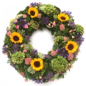 Sommerlicher Kranz mit Hortensien, ø 70 cm