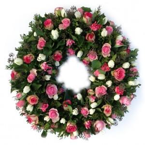 Frühlingskranz mit Rosen und Tulpen, ø 60 cm